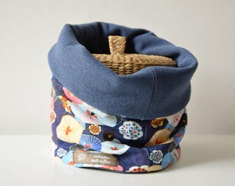 reversible snood (54 cm) the Japan flowers blue/jersey knit