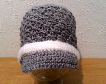 Women's Crochet Hat, Gray Textured Hat with White Band, Grey Newsboy Hat for Teens and Women