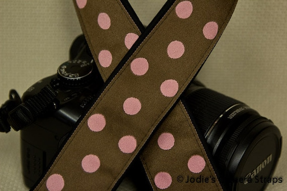 "Camera Strap Polka Dots Pink on Brown in 1.5"" Wide Custom Padded Fits DSLR SLR 2706"