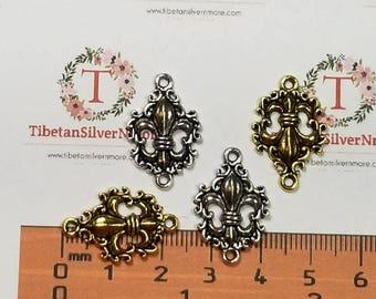 12 pcs per pack 24x16mm Fleur De Lis Cut out Link Antique Gold or Silver Finish Lead Free Pewter