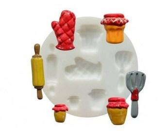 1 mini mold SILICONE kitchen FIMO SCULPEY Cernit Dtm 284401