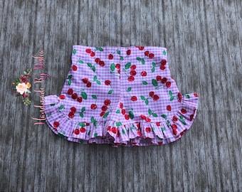 Girls Ruffle shorts, toddler ruffle shorts, ruffle shorties, cherry ruffle shorts