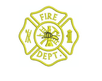 Applique Machine Embroidery Design Instant Download - Fire Department Fire Fighter Insignia First Responder