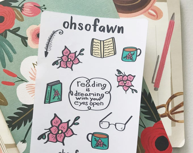 Hand Drawn Bookworm Stickers
