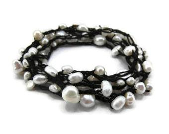 Freshwater Pearl Wrap Bracelet - Crochet Pearl Bracelet - Boho Wrap Bracelet - Beaded Wrap Bracelet - Multistrand Bracelet - Pearl Jewelry