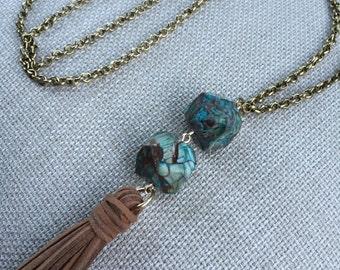 Boho Chic Suede Tassel Necklace with Ocean Jasper Beads