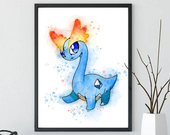 Pokemon Amaura Pokemon Go Watercolor Art - Watercolor Poster - Watercolor Painting - Home Decor - Wall Decor - House Warming Gift
