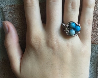Beautiful hand wired bird's nest ring with turquoise stones...choose how many babies in your nest