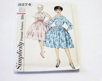 Simplicity 3274: Jr. and Misses' Dress with Detachable Collar Size 12 UNCUT