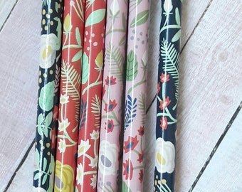 Shabby Chic Floral Set Of 6 Wooden Pencils Paper Craft Supplies/Stationery/Back To School Supplies