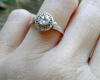 Georgian antique rose cut diamond engagement wedding ring rose gold silver engraved filigree Victorian