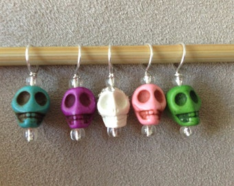 Set of 5  Stitch Markers - Stone Skulls and clear glass seed beads