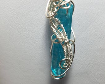 Wire Wrapped and Woven-Deep Aqua Aura Crystal Pendant Necklace-Silver on copper Wire Free US Shipping hand wired cage