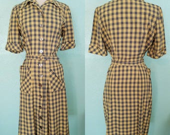 1950's Yellow and Gray Plaid Day Dress