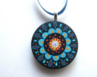 handpainted pendant - navy blue