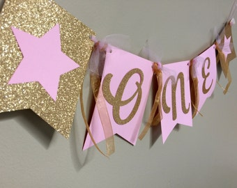 Twinkle Twinkle Little Star Banner - Birthday Banner - First Birthday High Chair Banner - Pink and Gold Glitter Birthday Star Party