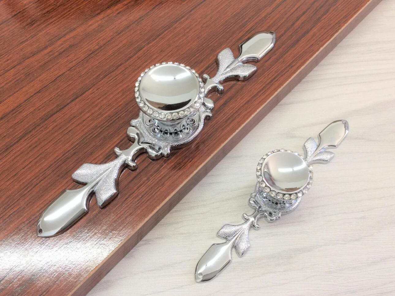 Crystal Pulls Silver Chrome US Drawer Pulls Handle Glass Dresser ...