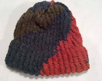 orange, blue and green color block  knit hat/ beanie