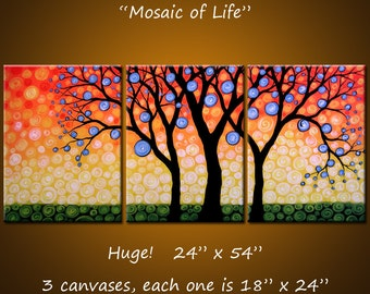"""Original Art Painting Triptych Decor Landscape Huge Large Trees .. 24"""" x 54"""" .. """"Mosaic of Life"""" Make a huge impact in your space"""
