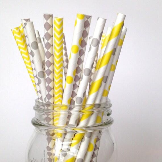 Gray Yellow Straws, Yellow Baby Shower, Gender Neutral Baby Shower, Yellow  Grey Party, Yellow Wedding Yellow Party Decorations, Lulu From  Twigsandtwirlsllc ...