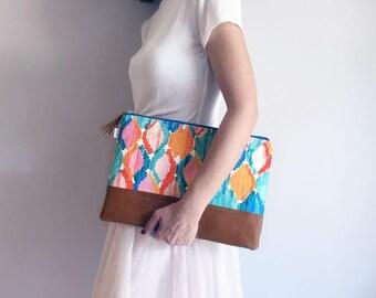 Ikat Clutch Bag / Vegan Leather Purse / Ikat Clutch Bag / Tassel Handbag