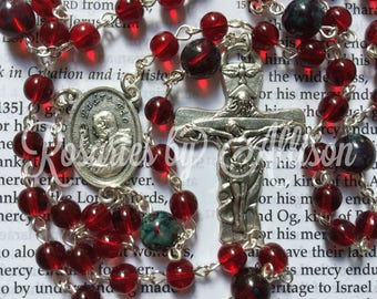 Ruby and Ruby Picasso Czech glass bead rosary with silver plated St Padre Pio center and Trinity crucifix
