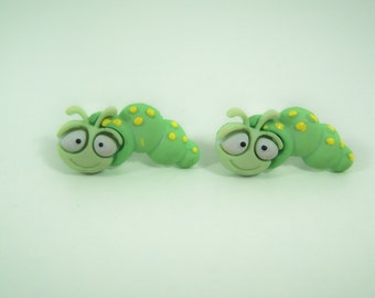 Green Caterpillar Earrings