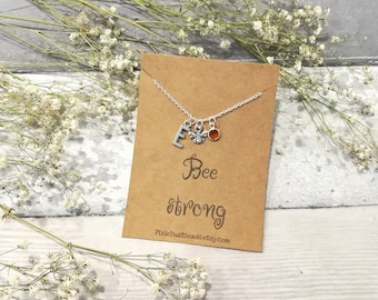 Bee Necklace, Bumble Bee Necklace, Bee Jewelry, Honey Bee Necklace, Strength Necklace, Bee Jewellery, Bee Charm Necklace, Everyday Necklace