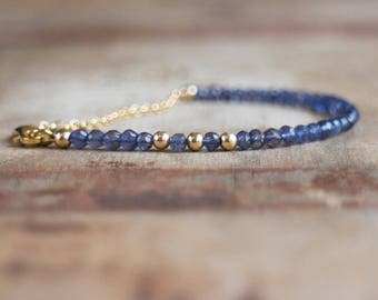 Iolite Bracelet, Gemstone Bracelet, Gift for Wife, Dainty Bracelet, Water Sapphire, Iolite Jewelry, Rose Gold, Silver, Gold Bracelet