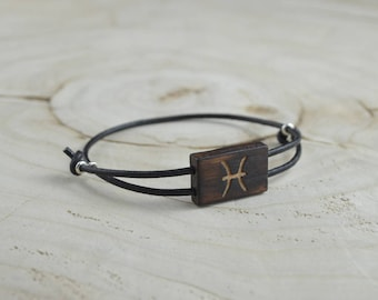 Bracelet Bois Récupéré, Cuir et Argent - Signe Astrologique Poissons