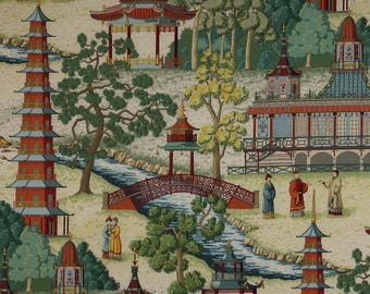 MANUEL CANOVAS Pagoda Asian CHINOISERIE Toile Fabric 10 Yards Rouge Clay Green Multi