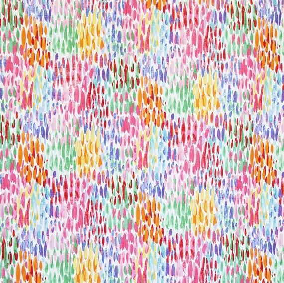 Pink Orange Yellow Blue Watercolor Upholstery Fabric, Make it Rain ...