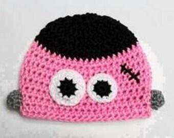 Frankenstein Baby Beanie, Halloween hat, Photo Prop, Baby Shower, Frankenstein Crochet Hat