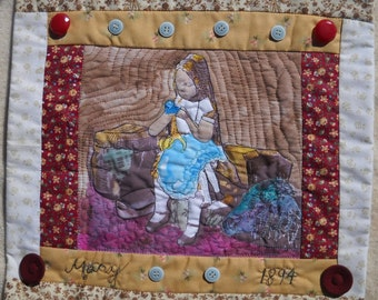 Wall Hanging Quilt Victorian Girl Mary 1894 Is She Deconstructing Her Dolly?