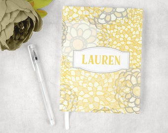 Personalized journal in spring floral print, custom journal, hardcover journal, journal diary, writing journal, lined or blank journal