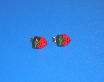Vintage Bright Red Strawberry Earrings