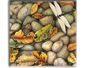 Dragonfly & Autumn Leaves on 2-inch ceramic tile magnet, original design home decor kitchen magnet, autumn colors river rocks pebbles stones