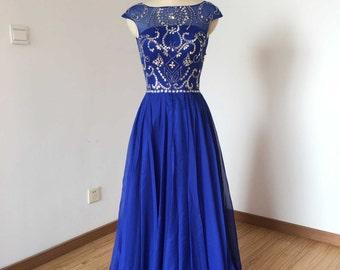 Cap Sleeves Royal Blue Chiffon Long Prom Dress 2017