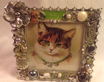 Sooo Cute  7x7 Handmade Jeweled Kitten Picure Frame! A unique Gift for the Cat Lovers