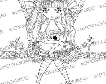 Digital Stamp Goth Fairy Skull Bird Nest, Digi Download, Fantasy Butterfly, Big Eyed Girl, Coloring Page, Scrapbooking Supplies, Clip Art