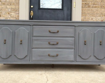 FREE SHIPPING - Sophisticated Vintage Gray Triple Dresser Sideboard