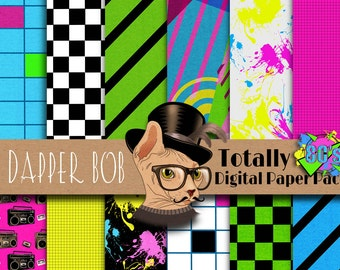 Totally 80's Digital Paper Pack for Scrap-booking and Paper Craft