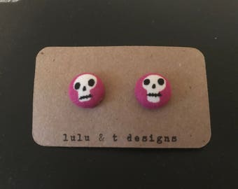Skull fabric covered button earrings studs, skull earrings, skull stud earrings