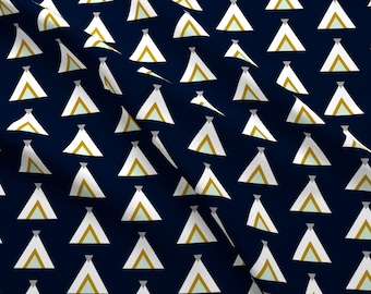 White Teepees on Navy Fabric - Tribal Teepees / Navy Mint Gray Mustard By Wilderandbean - Navy Cotton Fabric By The Yard With Spoonflower