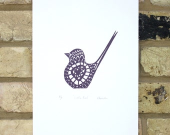 Bird screen print, hand pulled print, open edition screenprint, aubergine ink on white paper