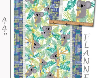 Flannel Koala Fabric Panel, Koala Flannel Baby Quilt Panel, Kanvas Studio Koala Baby Flannel CF 8680F 54 Maria Kalinowski, Cotton, 23 x 44