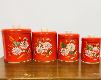 Vintage RANSBURG Red Hand Painted Kitchen Canisters Set of 4