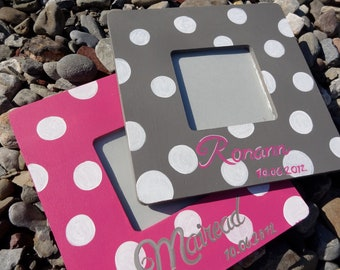 Personalized Custom Painted Polka Dot Picture Frames Set of 2