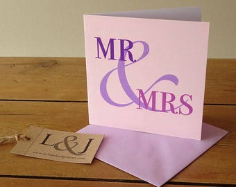Bride And Groom - Wedding Day Card - Him And Her - Cute Card - On Your Wedding Day - Marriage Card - Wedding Card - Mr & Mrs - Ampersand -