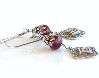 Victorian Earrings, Deep Red, Czech Glass Crystals, Sterling Silver Earrings, Engraved Four Leaf Clover Charms, Edwardian Earrings